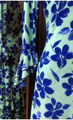 Green w/Blue Flowers Long-Dress 6 Ruffles
