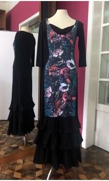 Vestido Preto 3 Babados c/Faixa Verde Floral