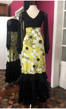 Yellow w/Polka-dots 4 Ruffles Long-Skirt
