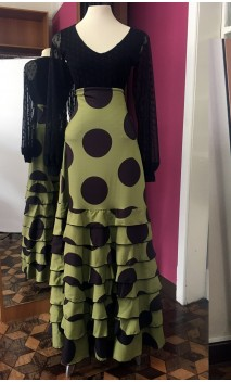 Green w/ Polka-Dots 8 Ruffles Long-Skirt