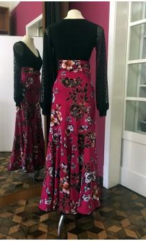 Dark Rose Floral Godet Long-Skirt