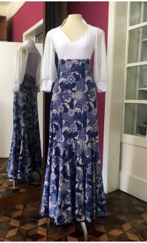 Blue and Beige Floral Godet Long-Skirt