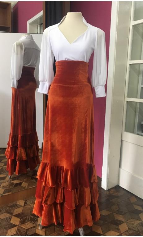 Rust Color Velvet Long-Skirt 3 Ruffles