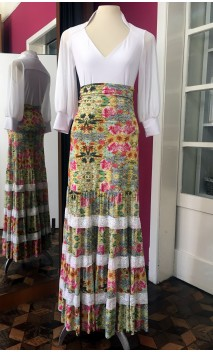 Yellow Floral Godet Long-Skirt w/Lace Detail