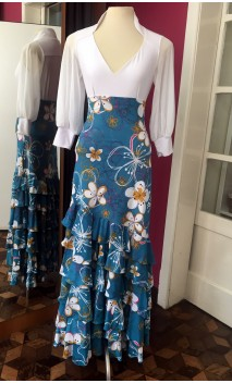 Turquoise Floral 6 Ruffles Long-Skirt