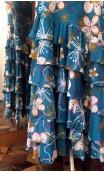 Falda Turquesa Floral 6 Volantes