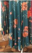Green w/Polka-dost & Flowers Godet Long-Skirt