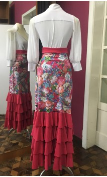 Falda Pink c/Flores 4 Volantes