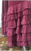 Burgundy 6 Ruffles Long-Skirt Devourê