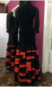Black w/Orange Long-Skirt 13 Ruffles Chiffon & Lace