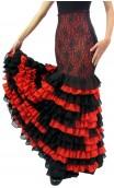 Falda Negra c/Naranja 13 Volantes Chiffon y Encajes