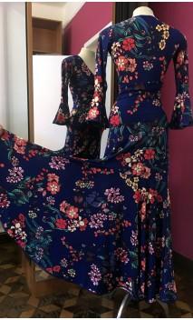 Conjunto Saia e Blusa Azul Escuro Floral