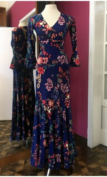 Conjunto Falda & Blusa Azul Oscuro Floral