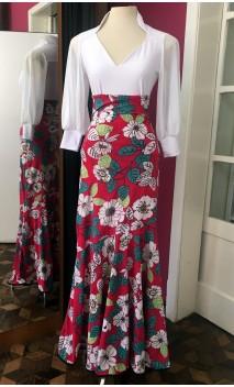 Rose Floral Godet Long-Skirt