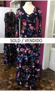 Dark Blue Floral Skirt & Top Set
