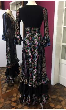 Floral Black Top & Collin Long-Skirt Set