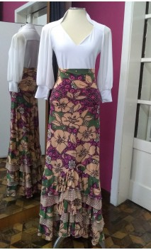 Green Colin Long-Skirt 5 Ruffles w/Flowers Rose and Beige