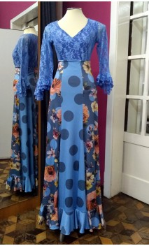Blue Long-Skirt w/Polka-dots & Flowers