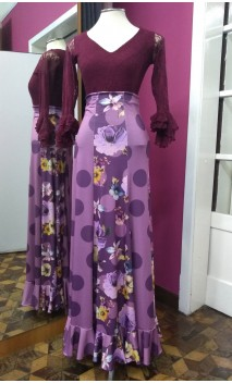 Lilac Long-Skirt w/Polka-dots & Flowers