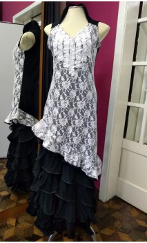 Black Asymmetric Short-Dress w/ White Lace