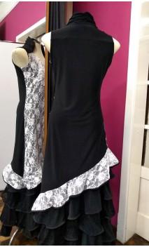 Black Asymmetric Short-Dress w/ White Lace