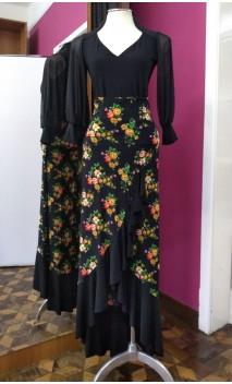 Falda Negro Floral 1 Volante