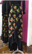 Black Floral 1 Ruffle Skirt