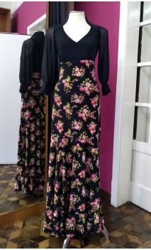 Floral Black Godet Long-Skirt