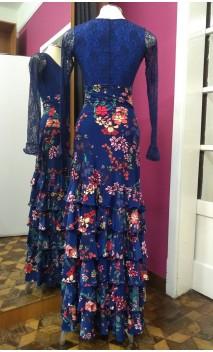 Blue Floral Long-Skirt 6 Ruffles