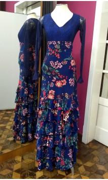 Falda Azul Floral 6 Volantes