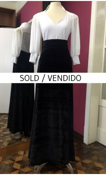 Black Velvet Long-Skirt w/Panels
