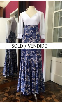 Blue and Beige Floral Godet Long-Skirt