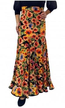 Falda Flamenca Floral Virna Extra Godet