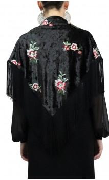 Embroidered Velvet Shawl w/7.9'' fringe