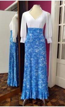 Blue Printed Godet Long-Skirt
