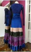 Blue Velvet Canastera Long-Skirt