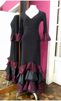 Conjunto Falda & Blusa Encajes de Satin Rosa