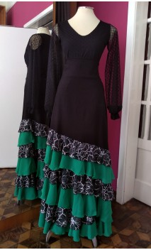 Black Long-skirt 6 Lace & Green Chiffon Ruffles