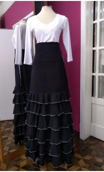 Falda Negra 6 Volantes Chiffon
