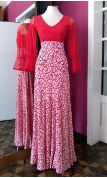 Falda Roja Floral Godet