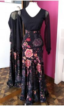 Falda Negra Floral Extra Godet