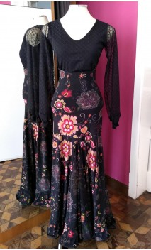 Floral Black Long-Skirt Extra Godet