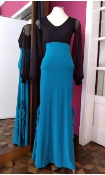 Turquoise Panel Ruffles Long-Skirt