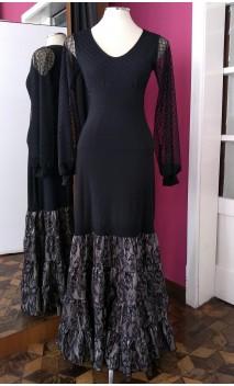 Black & Beige Canastera Long-Skirt
