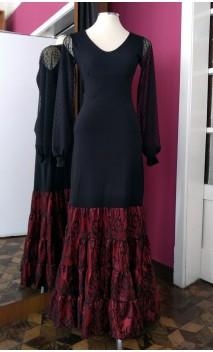 Falda Canastera Negra c/Rojo