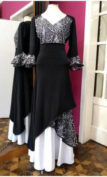 Black & White Skirt & Blouse Set w/Lace