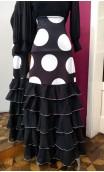Falda Negra c/Lunares 5 Volantes Chiffon