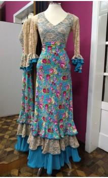 Floral Light Green Long-Skirt & Top Set w/Beige Lace
