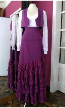Purple Vest & Long-skirt 6 Ruffles Set