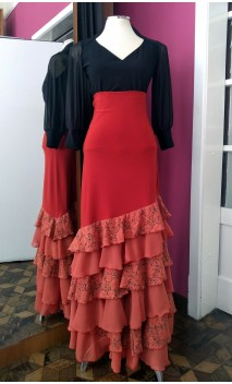 Rust Color Skirt 6 Ruffles w/Lace